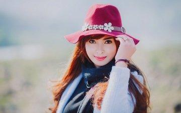 девушка, взгляд, модель, волосы, губы, лицо, шляпа, азиатка
