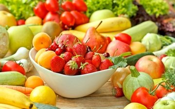 зелень, фрукты, яблоки, клубника, лимон, лук, вишня, овощи, помидоры, бананы, абрикосы, кабачок