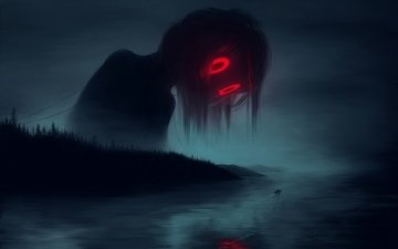 eyes, art, river, fog, red, monster, boat, loneliness, haze, horror, night, ghost, hopelessness, nightmare