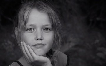 eyes, look, black and white, dreams, children, girl, hair, face, alexey yashkin