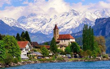 озеро, горы, швейцария, дома, люцерн, энгельбергское озеро