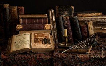 книги, свеча, перо, переплет, страницы, иллюстрация, страница, фолиант