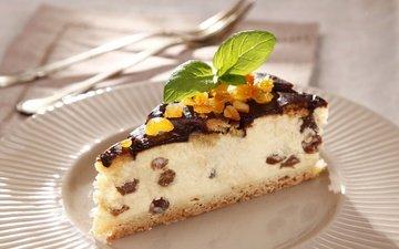 мята, еда, шоколад, сладкое, десерт, пирог, пирожное, творог, изюм