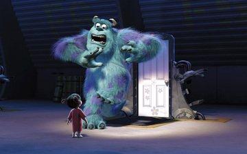 монстр, мультфильм, девочка, двери, корпорация монстров