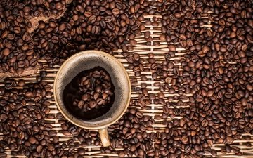 drink, the view from the top, grain, coffee, cup, foam, coffee beans