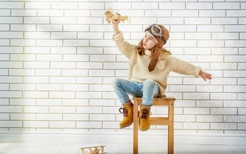 mood, glasses, wall, aircraft, children, girl, sweater, shoes