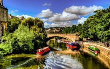 небо, облака, деревья, река, люди, мост, город, канал, дома, англия, катер, кораблик, вristol, бристоль