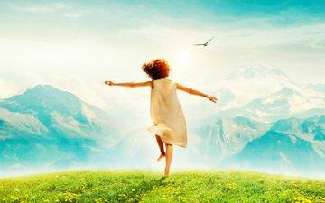 the sky, grass, mountains, the sun, mood, joy, girl, meadow, bird, dandelions, heidi