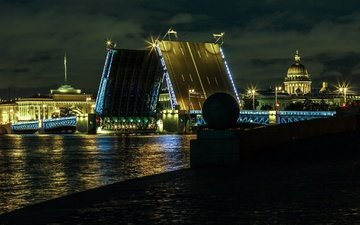 night, lights, river, bridge, the city, russia, building, saint petersburg, peter, dmitry martianov