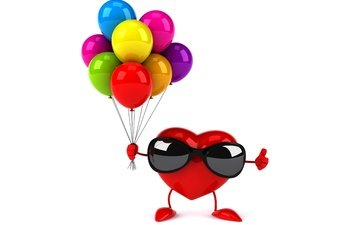 очки, графика, сердце, белый фон, воздушные шары, 3д