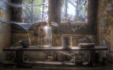 стиль, интерьер, окно, паутина, посуда, банки