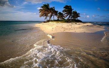 песок, пляж, пальмы, океан, остров