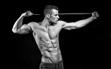 pose, black and white, male, press, muscle, bodybuilder