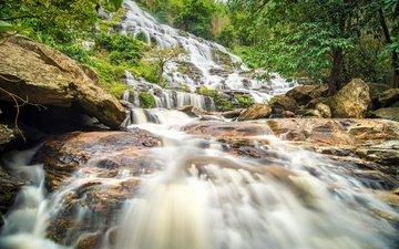 река, лес, пейзаж, водопад, джунгли, каскад