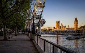 река, лондон, темза, колесо обозрения, башня, англия, парламент