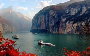 river, rocks, leaves, ship, autumn, china, yangtze, three gorges