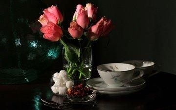 цветы, роза, букет, чашка, сахар, натюрморт
