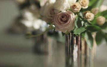 цветы, отражение, розы, букет, боке