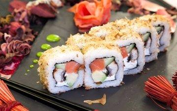 чай, рыба, рис, суши, роллы, морепродукты, имбирь