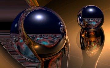 balls, shine, sphere, 3d, mirror