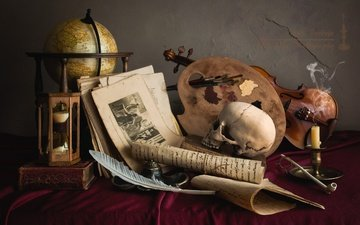 violin, watch, skull, globe, tube, candle, pen, palette, still life, page, the manuscript
