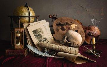 скрипка, часы, череп, глобус, трубка, свеча, перо, палитра, натюрморт, страницы, рукопись