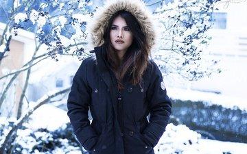 снег, зима, девушка, взгляд, модель, волосы, губы, лицо