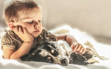 собака, щенок, ребенок, мальчик, друзья, agnieszka gulczynska