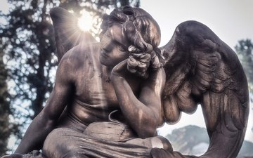 the sun, angel, italy, cemetery, statue, rome, marble, sculpture, massimo cuomo