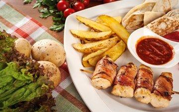 зелень, кетчуп, овощи, мясо, помидоры, соус, картофель, закуска, закуски, рулетики, лаваш