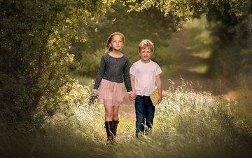 трава, деревья, дети, девочка, тропа, мальчик, edie layland