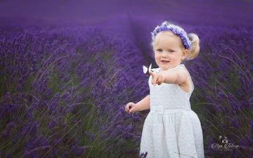 трава, природа, платье, поле, лаванда, бабочка, дети, девочка, волосы, лицо, ребенок, венок, малышка, aga tetera