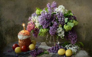 flowers, branches, spring, bouquet, candle, easter, eggs, holiday, lilac, cake