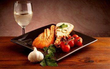 бокал, вино, овощи, помидоры, чеснок, морепродукты, петрушка, сервировка, омар