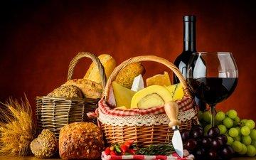 виноград, бокал, сыр, булки, хлеб, колоски, корзина, вино, бутылка, нож, выпечка, перец