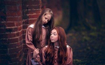 дети, волосы, лицо, девочки, платья, боке, queens of silence