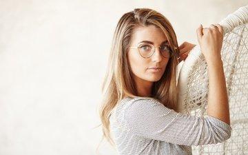 девушка, взгляд, очки, модель, волосы, лицо, настя
