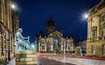 ночь, храм, собор, город, дома, улица, памятник, шотландия, эдинбург, уличные фонари, st giles' cathedral, эдинбургский собор