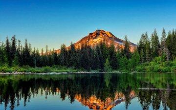 небо, деревья, вода, озеро, берег, лес, отражение, гора