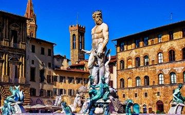 италия, флоренция, площадь, фонтан нептуна, синьории