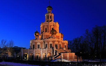 the evening, moscow, russia, church, the church of the intercession of the mother of god