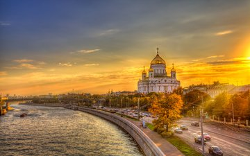 sunset, moscow, russia, church, the cathedral of christ the savior