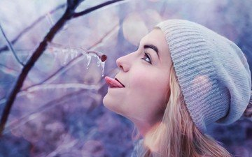 branch, winter, girl, ice, profile, face, hat, language