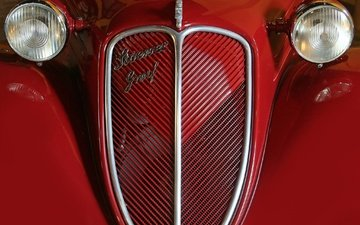 retro, red, car, 1938, stoewer, greif cabriolet