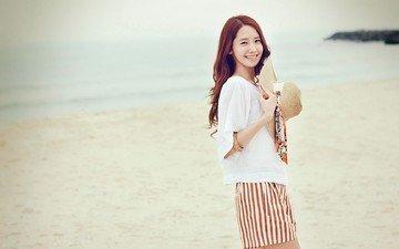 девушка, настроение, улыбка, пляж, взгляд, волосы, шляпа, азиатка, юонна, girls' generation
