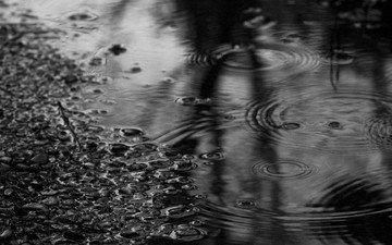 вода, камни, чёрно-белое, дождь, лужа