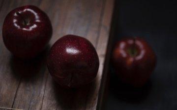 фрукты, яблоки, плоды, деревянная поверхность