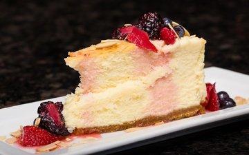 клубника, ягоды, черника, сладкое, торт, десерт, ежевика, чизкейк
