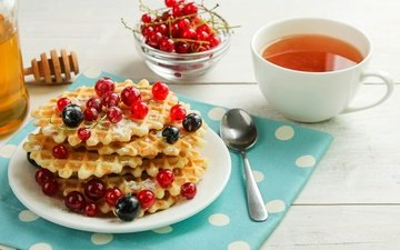 berries, tea, honey, cakes, spoon, currants, waffles