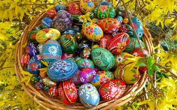 easter, eggs, bright, painted